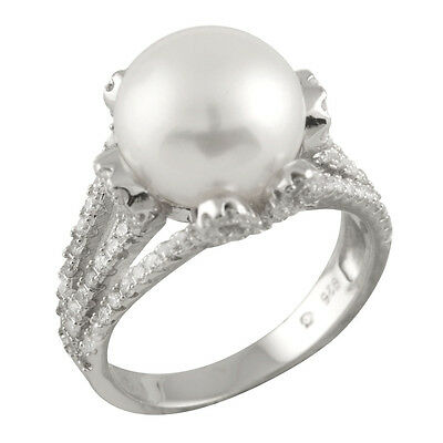Fancy sterling silver ring with 11-12mm button shape freshwater pearls RS-154