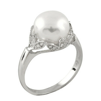Fancy sterling silver ring with 9-10mm button shape freshwater pearls RS-155