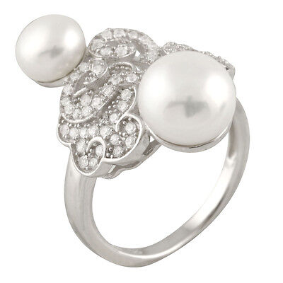 Fancy sterling silver rhodium plated ring with 7-8mm and 9-10mm pearl RS-150