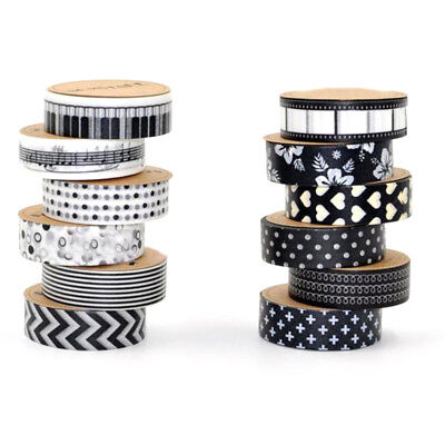 12x DIY Washi Tape Decorative Paper Sticky Adhesive Sticker Black and White