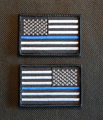 Thin Blue Line United States Flag Patch Set Police SWAT Iron On Sew On