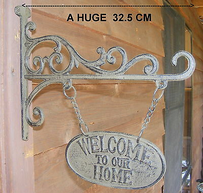 Cast Iron Hanging Entry Sign Rustic Country Metal French Provincial Welcome CI93