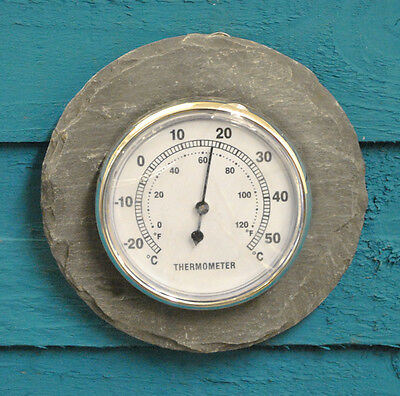 Fallen Fruits Round Slate Outdoor Garden Wall Mounted Thermometer