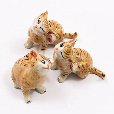 Kitten Cat 5.5cm New Ceramic Doll Figurine Miniature Dollhouse Collectible A1083