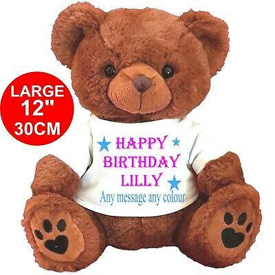 "Personalised Brown Teddy Bear 30Cm/12"" Birthday Flower Girl Wedding Any Gifts"