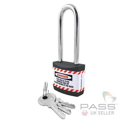 Lockout Tagout Jacket Padlock with Long Shackle - Key Different (Black)