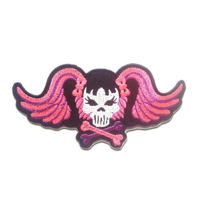 skeleton Skull Girly 4,5x7,5cm Application badges Iron on patches pink
