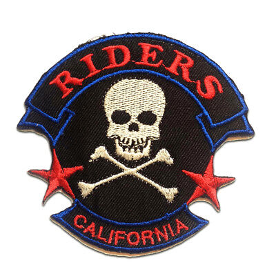 Iron on patches red 9.8x3.7 Application badges Never Ride Faster…..Biker