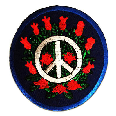 Iron on patches colorful Application Embroided badges Peace dove Ø7.5cm