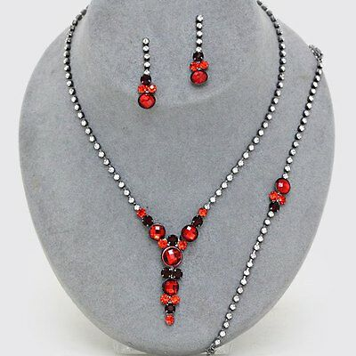 red diamante necklace bracelet earring set jewellery bling party prom bridal 498