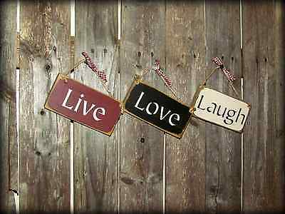 Live Love Laugh, Set of 3 Signs, Hanging Wood Signs, Wood Sign Sayings