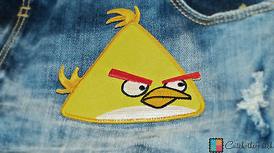 Toppe termoadesive - Angry birds - giallo - 10,3x9,5cm - Patch Toppa ricamate