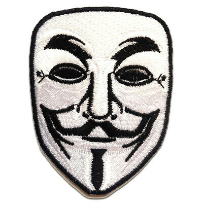 Parches - V For VENDETTA Anonymous - blanco - 6.5x8.5cm bordados para ropa