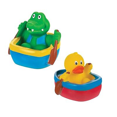 2 Animal Boat Bath Squirters Water TAble Play Duck & Alligator Boat