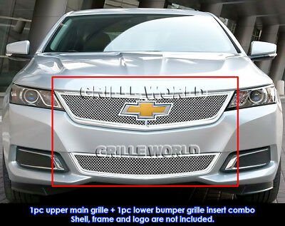 APS for 2014-2016 Chevy Impala Stainless Steel Bolt Over Mesh Grille Combo #N19-T21317C