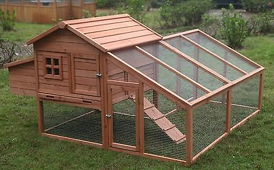 """New 73"""" Wood Chicken Coop Backyard Hen House 3-6 Chickens with nesting box"""