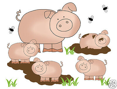 Barnyard Pig Mural Wall Art Decal Baby Farm Animal Nursery Kids Stickers Decor