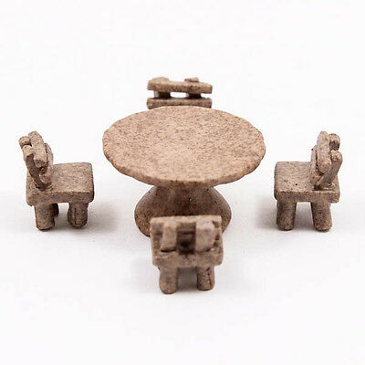 Set of 5pcs x Table Chairs Picnic Dollhouse Miniature Ceramic Food Supply A1188