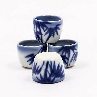Bamboo Blue Cup Bowl 14x17mm Dollhouse Miniature Ceramic Food Supply Deco A1147