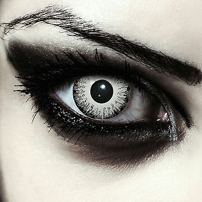 Scary looking white colored zombie costume contacts for Halloween: White Fear