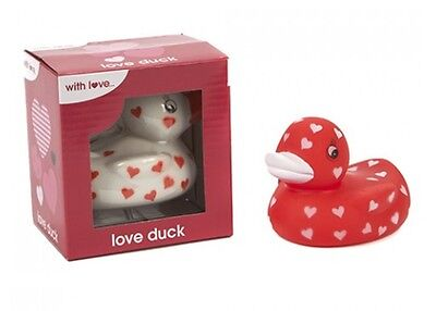 Set Of 2 Valentines Rubber Ducks Love Heart Duck In Display Box Red & White