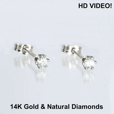 0.07Ct.  Brillant Cut Real Diamond 14K Solid Yellow Gold  Stud Earrings