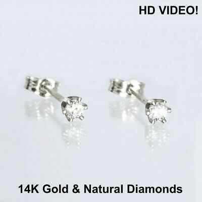 Tiny Stud  Earrings 14K Gold 0.04 ct Real Brilliant Cut Diamond, ideal for child