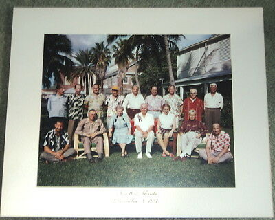 ORIG 1951 COLOR GROUP PHOTO PRESIDENT HARRY TRUMAN w/ FAMILY & STAFF in KEY WEST