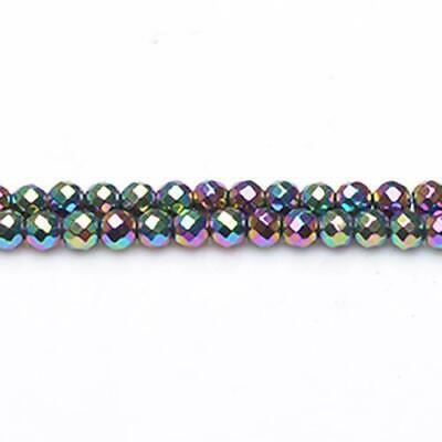 Strand Of 95+ Rainbow Hematite (Non Magnetic) 4mm Faceted Round Beads GS9613-2