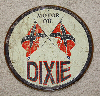 """Dixie Motor Oil Co. 12"""" Round Vintage Style Metal Signs Man Cave Garage Decor 69"""