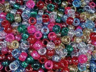 Pony Beads 9x6mm Glitter Mix 100pc Kids Hair Party Activity DIY FREE POSTAGE