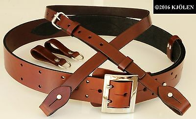 Nato Military Army Officer Police Belt Natural Leather Gun Holster Bullhide Clip