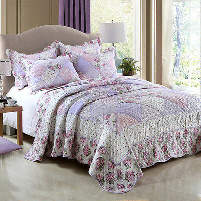 Floral Quilted Bedspreads Set Queen/King Size Coverlet Blanket Patchwork Throw