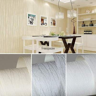 10m Modern Line Flocking Non-woven Embossed Textured Wallpaper Roll Wall Decor