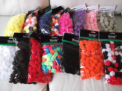 """1"""" (25mm) FLUFFY  POM POMS - CHOICE OF 20 COLOURS & 3 PACK SIZES"""