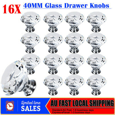 Hot 16x 40MM Diamond Crystal Glass Clear Door Cabinet Drawer Knobs Handles Pulls
