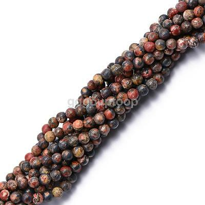 "Wholesale Natural Leopard Skin Jasper Round Loose Beads 4mm 15"" Jewelry DIY"