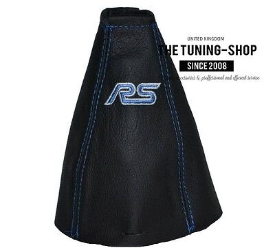 For Ford Focus Mk1 98-04 Gear Stick Gaiter Leather With Rs Embroidery Blue St
