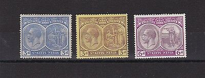 St Kitts & Nevis  1921 - 29 S G 45, 45A & 46 Various Values     M / H