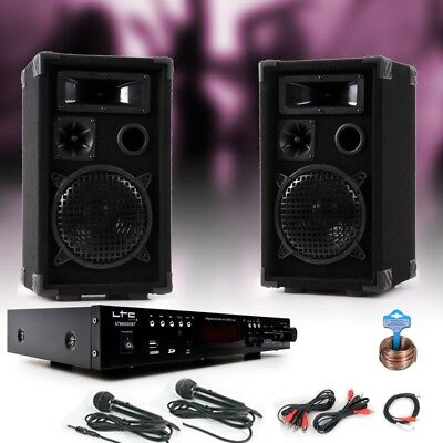 PA party karaoke stereo speakers amplifier MP3 SD Bluetooth USB 2 x microphone