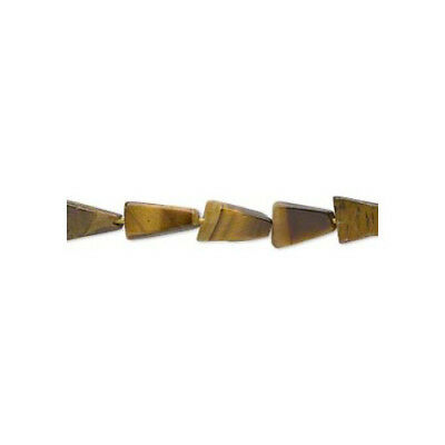 Strand of 30+ Yellow/Brown Tiger Eye Approx 7-11mm Handcut Triangle Beads FM9857