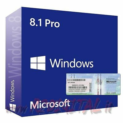 Windows 8.1 Pro Dvd Coa Sticker Licenza Originale Sistema Operativo Pc Notebook