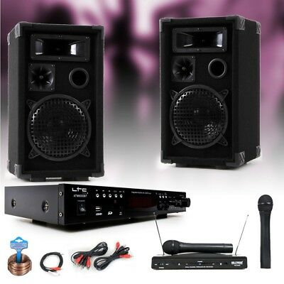 PA party music system speakers amp USB MP3 SD Bluetooth wireless microphone