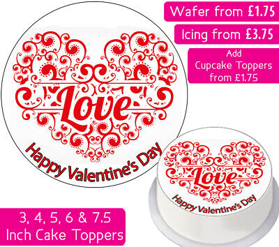 Valentines Love Heart Edible Wafer & Icing Personalised Cake Toppers Cute Red