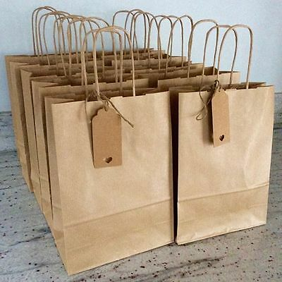 Kraft Brown Paper Bag Twisted Handles Gift Tag Loot Gift Party Wedding Favour