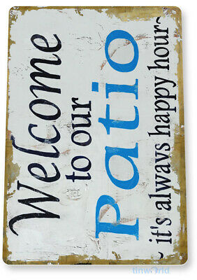 """TIN SIGN """"Welcome to Patio"""" Beach House Cottage Metal Decor Art Kitchen B010"""