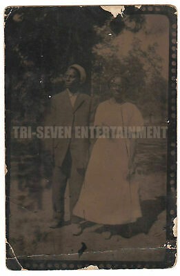 Antique African-American Couple Tintype Real Photo Postcard RPPC Black Americana