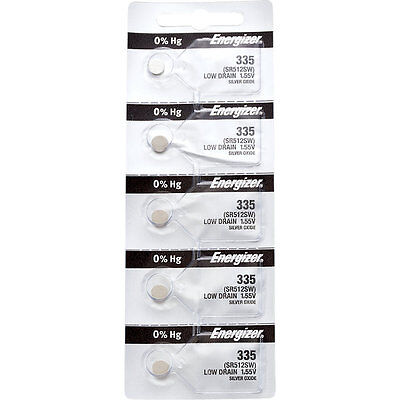 5 x Energizer 335 Watch Batteries, 0% MERCURY equivilate SR512SW