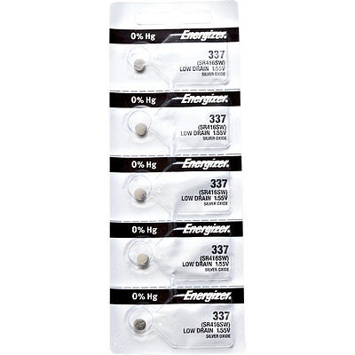 5 x Energizer 337 Watch Batteries, 0% MERCURY equivilate SR416SW