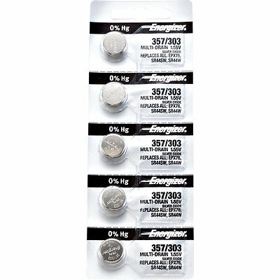 5 x Energizer 357 Watch Batteries, 0% MERCURY equivilate SR44SW or 303